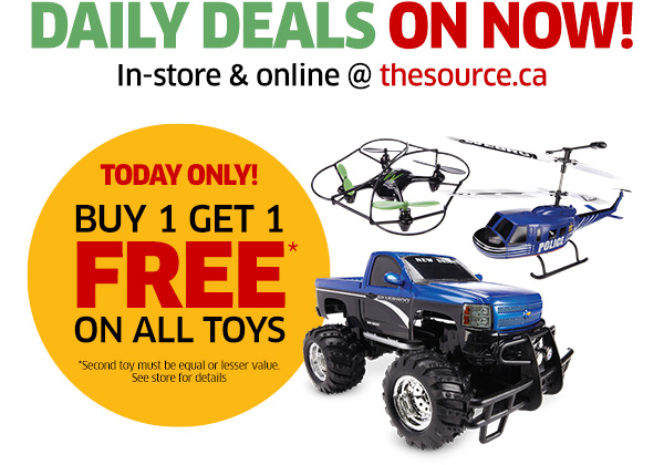 TODAY ONLY: Buy 1 toy, get 1 FREE!*